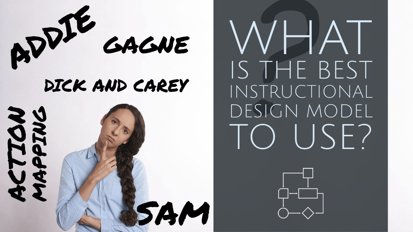 Instructional Design Models listed alongside a puzzled woman